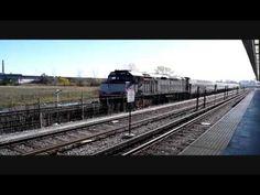 MBTA Locomotive #1072 with 4 Cars Outbound Through Assembly