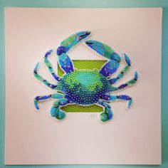 Bead Embroidered Blue Crab.  Eleanor-Pigman.squarespace.com