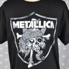 Metallica Oakland Raiders Pirate Skull Mashup Large T-Shirt New PusHead Metal
