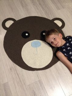 Crochet Rug/Made to Order/Teddy Bear/Custom Order Rug/Rug/Rugs/wool rug/Handmade…