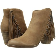 Dolce Vita Juneau (Teak Nubuck) Women's Shoes (1,815 MXN) ❤ liked on Polyvore featuring shoes, boots, ankle booties, ankle boots, brown, dolce vita booties, brown bootie, brown booties, fringe ankle boots and brown boots