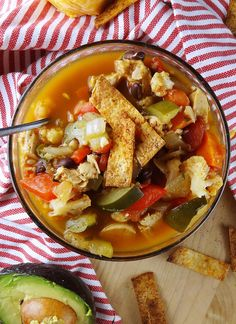 Healthy Chicken Tortilla Soup from The Cheerful Kitchen. Click for this easy soup recipe!