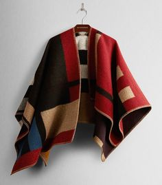 On every It girl's wish list: Burberry Colour Block Check Blanket Poncho