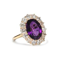 Scintillation Antique Amethyst Diamond Ring ($5,450) ❤ liked on Polyvore