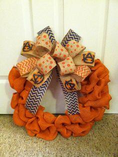 Auburn Tigers Orange Burlap Wreath by wreathsbymc on Etsy, $65.00