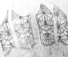 Planning out a new beaded bodice. Pearl and clear glass beading finish..  #beading #bridal #sketch