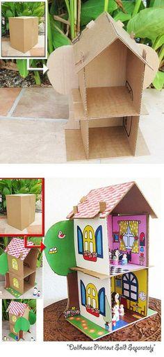 DIY / Repurposed :: Cardboard Dollhouse PDF Pattern, Recycle Cardboard Boxes ( Etsy :: decorating ideas fashion made gifts Cardboard Dollhouse, Cardboard Crafts, Diy Dollhouse, Paper Crafts, Cardboard Houses, Cardboard Box Fort, Shoebox Crafts, Diy Paper, Paper Art