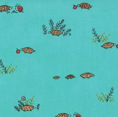 Crafter's Vision - Moda - Little Apples - Aqua Slow Folks Cotton Fabric, $5.88
