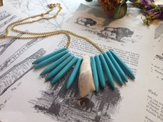 Turquoise Halite Spike & Buffalo Tooth Necklace by NettleHeart