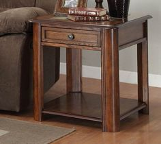 He-3409-04 Mcmillen Collection End Table, Slate, Drawer