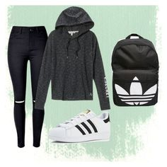 """""""Sporty"""" by malina-dobrescu ❤ liked on Polyvore featuring Victoria's Secret and adidas"""