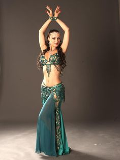 green belly dancing costume