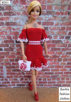 Irresistible Crochet a Doll Ideas. Radiant Crochet a Doll Ideas. Barbie Knitting Patterns, Knitting Dolls Clothes, Barbie Clothes Patterns, Crochet Doll Dress, Crochet Barbie Clothes, Doll Clothes Barbie, Dress Barbie, Barbie Miss, Barbie Wardrobe