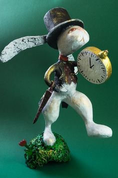 Nilly and the City, OOAK Handmade Art Doll, Rabbit with Gold Pocket Watch, Papier Mache Sculpture, Unique Original 3D Artwork, FREE SHIPPING