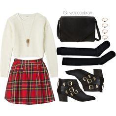 """Plaid Skirt xx Cropped Sweater"" by reec3bby on Polyvore"