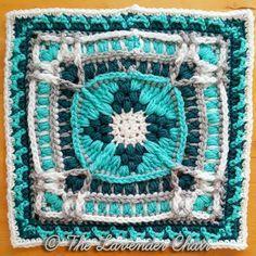 "Suzanne's Frasera Mandala 12"" Square - free crochet pattern at The Lavender Chair. Mandala Blanket CAL Square no.15"