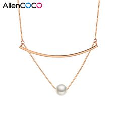 ALLENCOCO Fashion Pendant Necklace Silver/Rose Gold Plated Shaped Sexy Dual Letter T Clavicle Chains Necklace For Women Jewelry