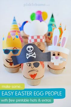 Easy Easter Egg People with Free Printable Hats ~ A low mess and fun way for the kids to decorate Easter eggs! Funny Easter Eggs, Easter Art, Easter Crafts For Kids, Crafts To Do, Easter Ideas, Easter Food, Easter Recipes, Easy Crafts, All You Need Is