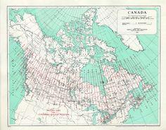 Canadian MTM zones map