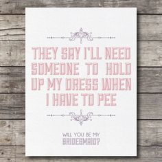 Will you be My Bridesmaid Card - Customizable - Digital Ready to Print. $5.00, via Etsy.
