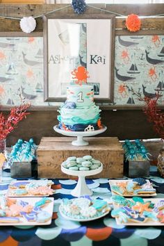 Cakescape from a Modern Under the Sea Birthday Party on Kara's Party Ideas | http://KarasPartyIdeas.com (51)