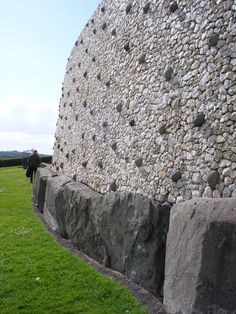 The beautiful stonework on the outer wall of Newgrange Burial Chamber, Co. Meath. Ireland  from Old Forgotten Monastic Sites and Buildings