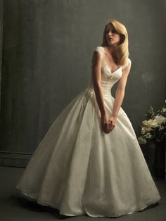 Rich Taffeta V-Neck Ball Gown Cap Sleeves Wedding Dress with Chapel Train AB8723