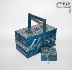 2 Aiguilles à coudre / tricoter box avec coussin machine épingle de couture, fil, aiguille, bois