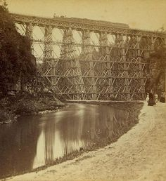 Letchworth High Bridge when it was a wooden structure.  This is a great webpage/site for Letchworth info.  http://www.letchworthparkhistory.com/table.html