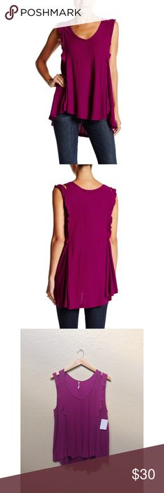 Free People 'Bondi' Knit Waffle Tank Free People 'bondi' knit waffle tank with shoulder cutouts, raw edges and hem detail, ruffle detail, and in a beautiful magenta color. New with tags. No modeling or try on's. Free People Tops