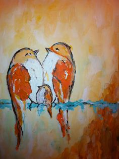 Lovebirds and baby painting adapted from an artist on Etsys design and painted in acryllic