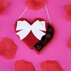 Valentines Chocolate Box Necklace  - Black Heart Creatives