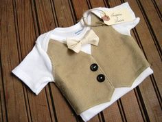 Tan Corduroy Vest Onesie with Cream Bow Tie, Vest Onesie, Bow Tie Onesie, Baby Bowtie, Baby Boy Wedding, Baby Vest, Boy Wedding Onesie on Etsy, $26.00