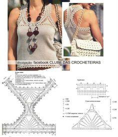 crochet yoke for t shirt - Salvabrani Col Crochet, Crochet Yoke, Crochet Fabric, Crochet Motifs, Crochet Shirt, Crochet Crop Top, Crochet Cardigan, Crochet Bikini, Crochet Patterns
