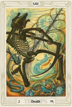 13 Death from the Thoth Tarot deck, painted by Lady Frieda Harris according to instructions from Aleister Crowley.