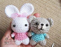 Little bunny sister with her bear friend - Sayjai Amigurumi Crochet Patterns ~ K and J Dolls / K and J Publishing