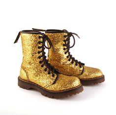 Glitter Doc Martens Boots Vintage 1990 Gold Dr UK Size 3. $248.00, via Etsy.