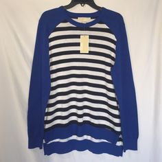 Michael kors sweater ✨NEW✨ I have a NWT Michael Kors sweater in Large, it's very nice and super soft! It has black and white stripes with Royal blue long sleeves and back is about an inch longer than the front . Make me an offer! Michael Kors Sweaters