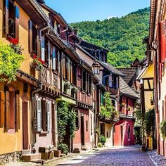 Quaint, colorful street in #Alsace-Lorraine in #France. Photo courtesy of nodestinations on Instagram.