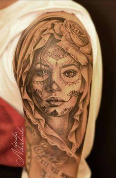 die 64 besten bilder von la catrina tattoos skull tattoos body art tattoos und female tattoos. Black Bedroom Furniture Sets. Home Design Ideas