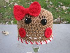 Gingerbread girl crochet hat