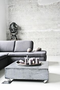 Stylish and inspiring industrial living room designs 17 Concrete Interiors, Concrete Furniture, Living Room Designs, Living Room Decor, Living Rooms, Concrete Coffee Table, Coffee Tables, Concrete Slab, Concrete Jungle