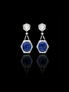 "ALEXANDRE REZA ""Sapphire and Diamond"" Earrings featuring Ceylon oval-shaped sapphires, troidias diamonds, and baguette-cut diamonds. (=)"