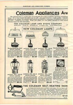 1934 AD 2 Page Coleman Lantern Lamp Instant Match Light Camp Stove Sad Iron