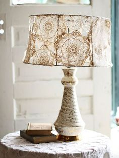 Dishfunctional Designs: Vintage Lace & Doilies: Upcycled and Repurposed Doily Lamp Shade Doily Lamp, Cover Lampshade, Diy Lampshade, Doilies Crafts, Lace Doilies, Crochet Doilies, Framed Doilies, Diy Luz, Lampshade Designs