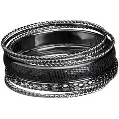 Black Glitter Bangle Set (19 CAD) ❤ liked on Polyvore featuring jewelry, bracelets, accessories, pulseiras, black, black bangles, bangle bracelet, metal jewelry, black bracelet and glitter jewelry