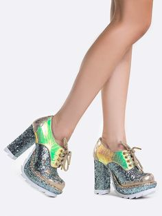 - Don't let the world turn without these bold babies. The Irregular Choice Galaxy Chunky Platform High Heeled Shoes in Hologram Glitter feature a rounded toe, lace up front with gold laces, thick lugg