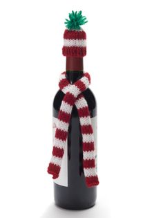 Knit Wine Bottle Hat And Scarf...used Lion Brand BonBon yarns...