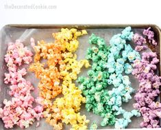 How to make colorful, candy RAINBOW POPCORN! A fun food snack for a rainbow party or unicorn party. Awesome unicorn food. Also great for St. Patrick's Day.