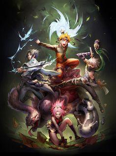 Anime, Art, Аниме, Naruto, Sasuke, Sakura, Kakashi, team 7